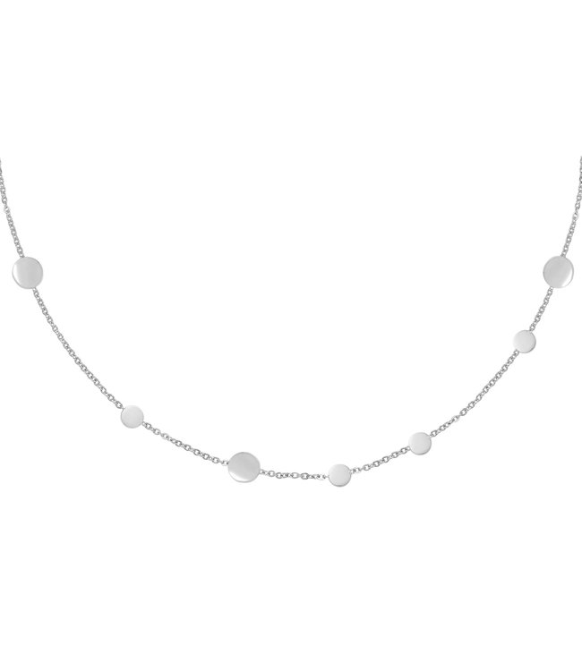 Silver Row of Coins Necklace