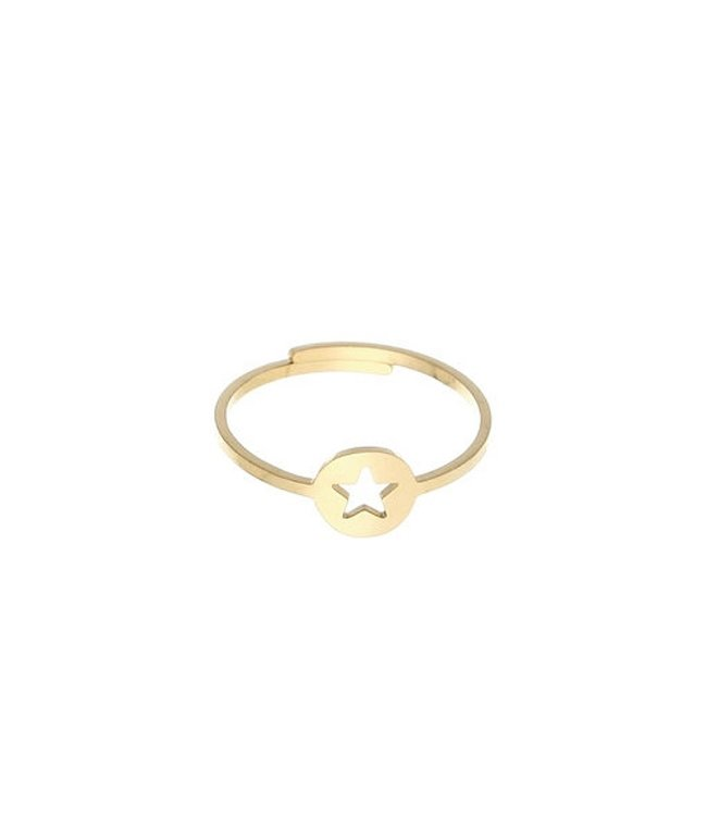 Gold Open Star Coin Ring