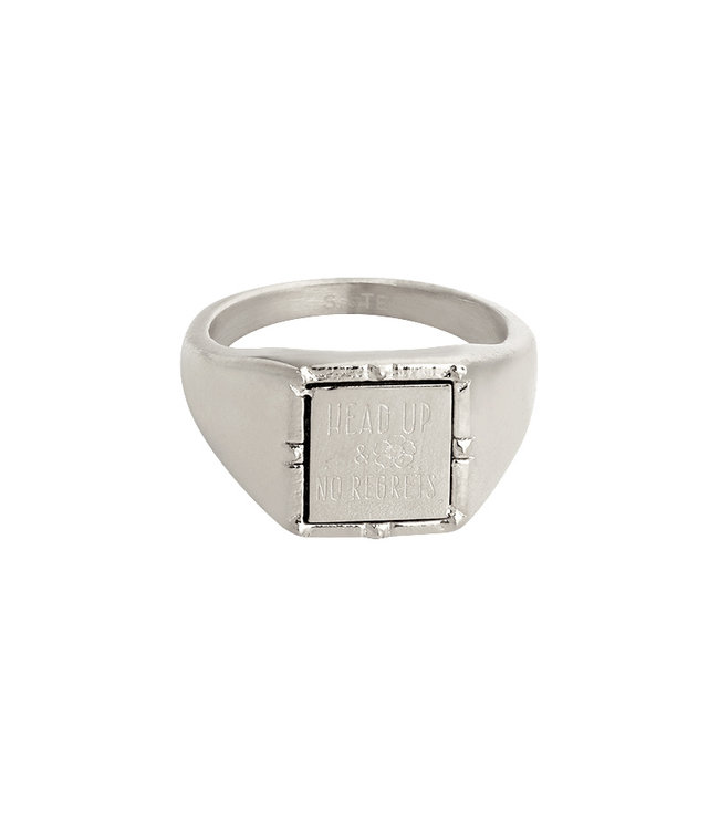 Silver Head up Signet Ring