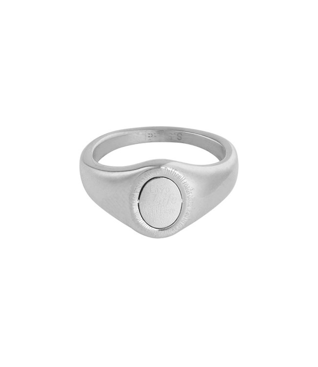 Silver Live Life Signet Ring