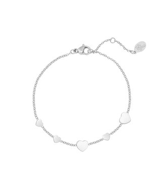 Silver Row of Hearts Bracelet