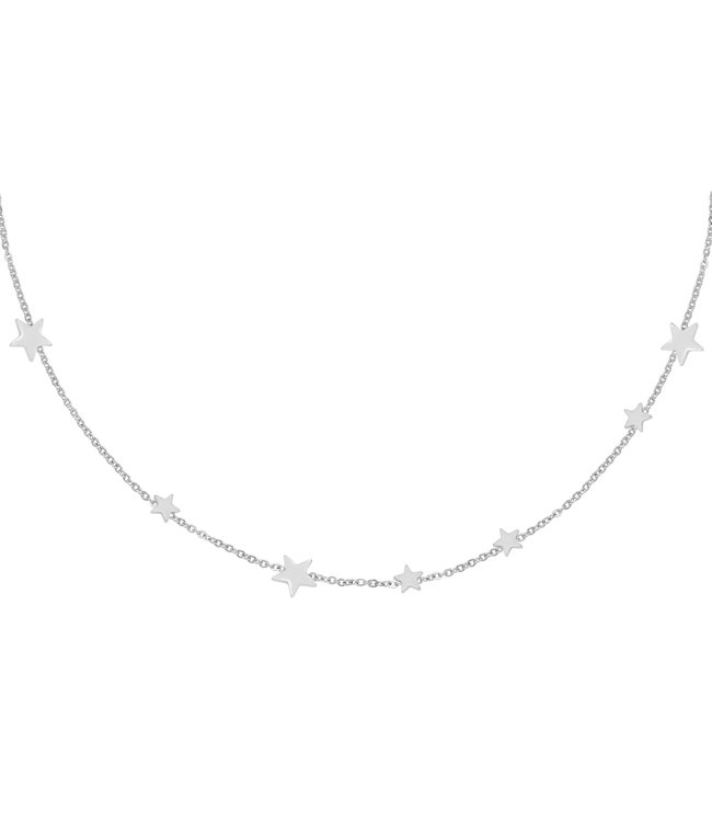 Silver Row of Stars Necklace
