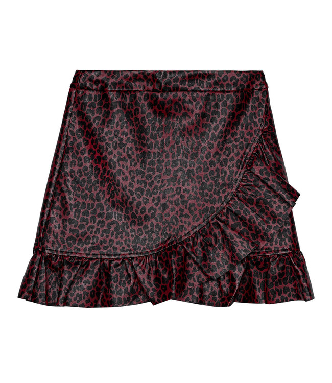 Leather Ruffle Panther Skirt / Red
