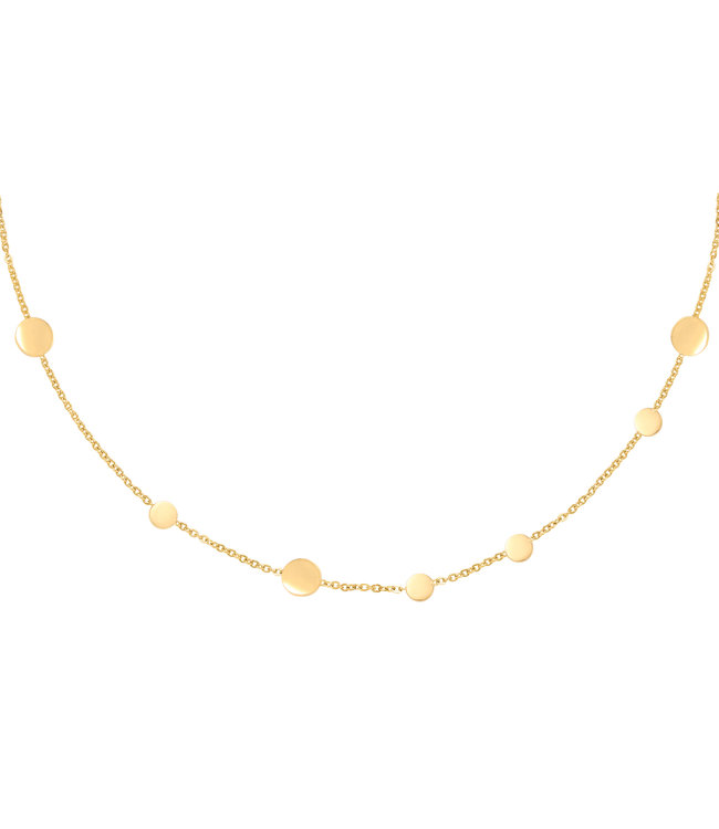Gold Row of Coins Necklace