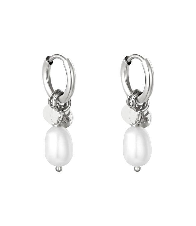 Silver Pearl Drops Earrings