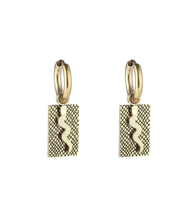 Gold Snake Tag Earrings