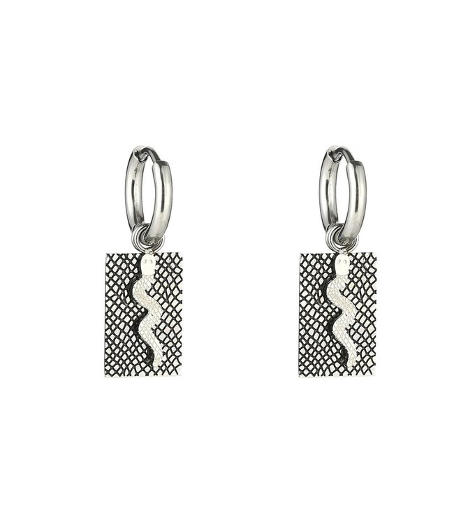 Silver Snake Tag Earrings