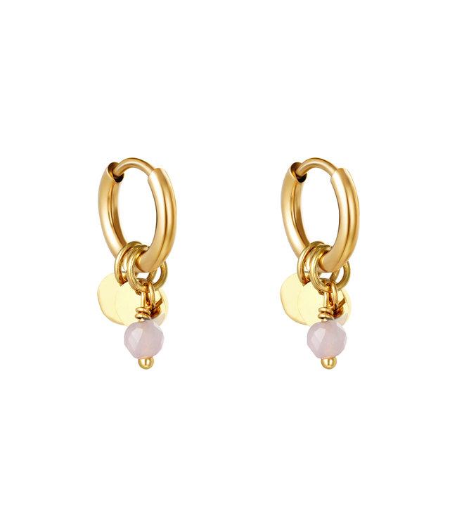 Cute Coins Earrings / Pink