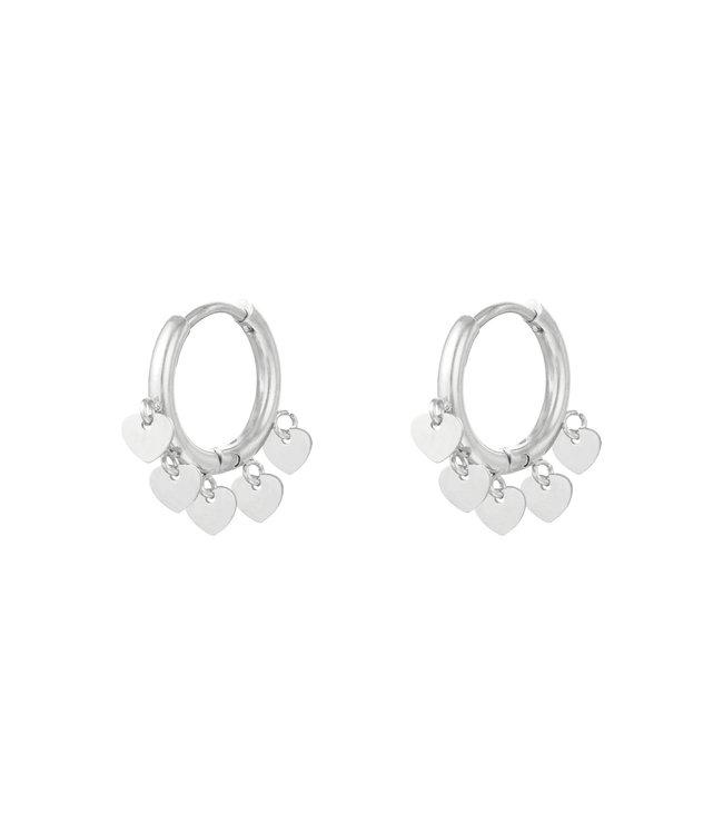 Silver Floating Hearts Earrings