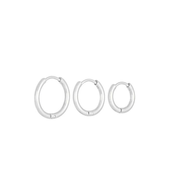 Silver Little Hoops Earrings Set