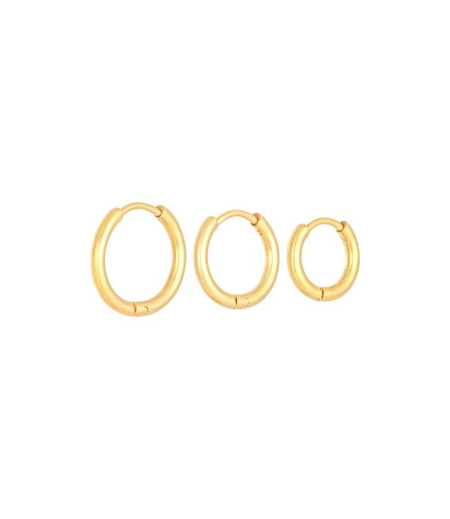 Gold Little Hoops Earrings Set