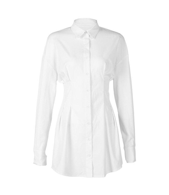 Milou Blouse Dress / White