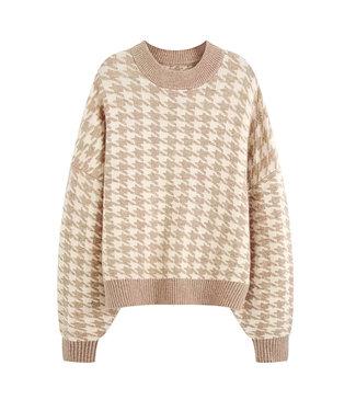 Pied de Poule Sweater / Camel