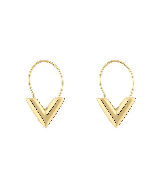 Gold Little V Earrings