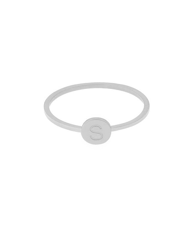 Silver Initial Coin Ring