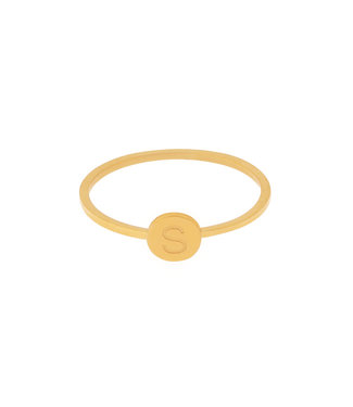 Gold Initial Coin Ring