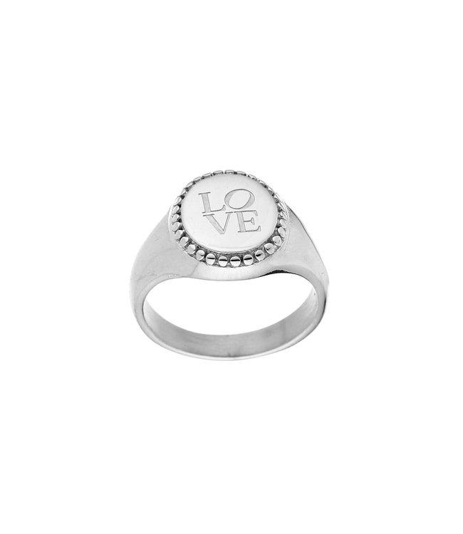 Silver Love Signet Ring