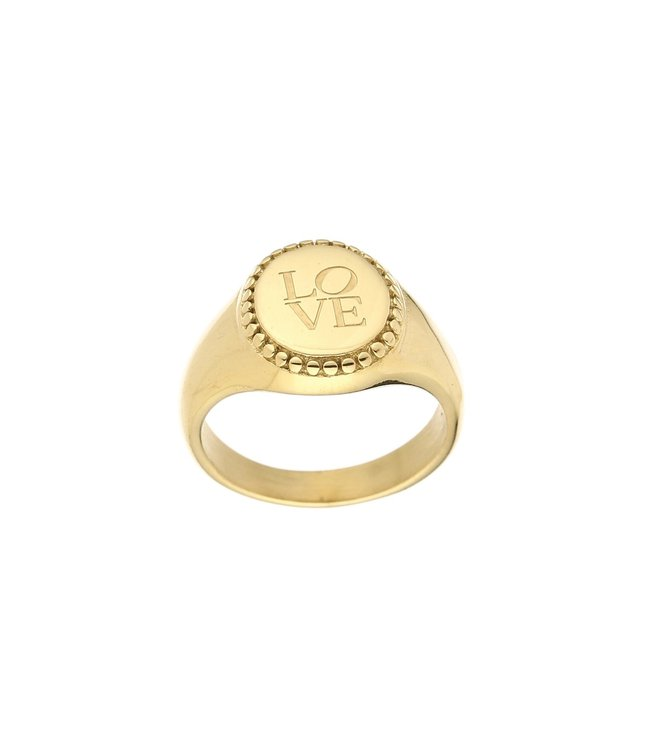 Gold Love Signet Ring