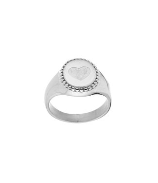 Silver Heart Signet Ring