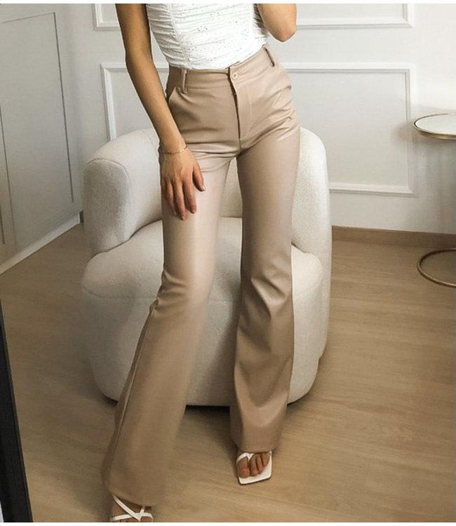 Straight Leg Leather Pants / Beige