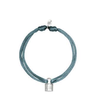 Satin Lock Bracelet / Grey
