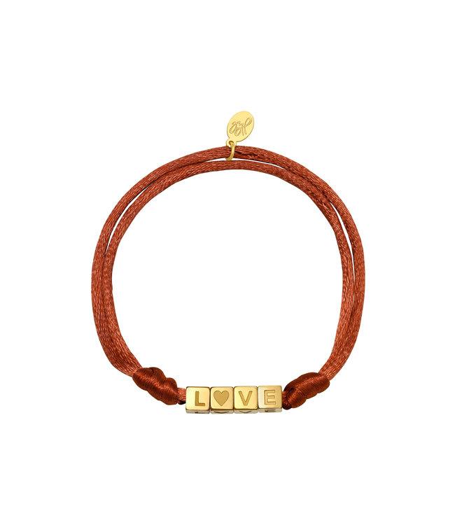 Satin Love Bracelet / Rusty Brown