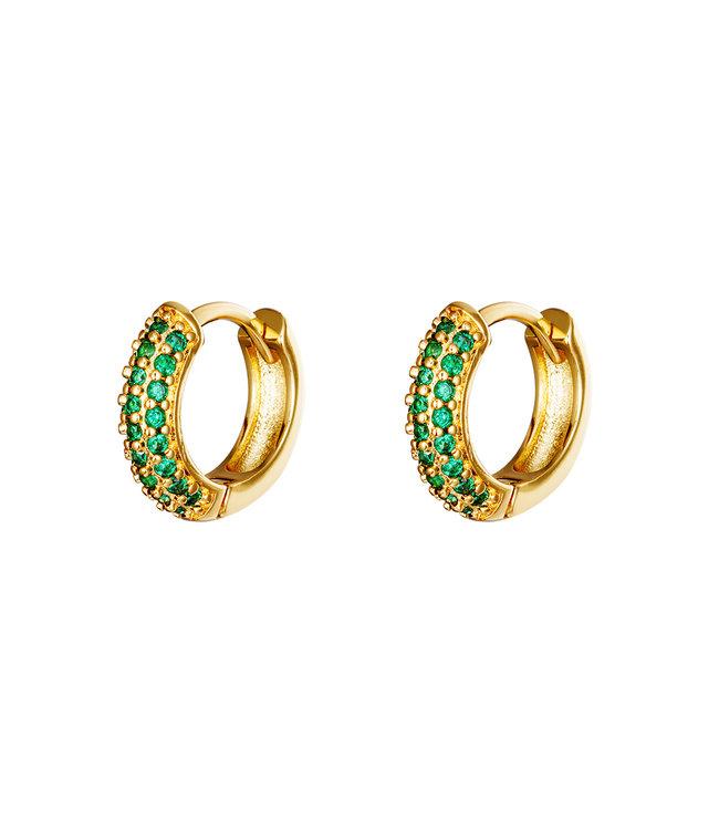 Desire Hoops Earrings / Green