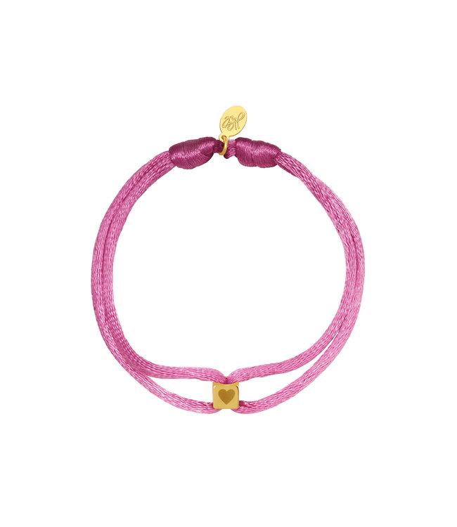 Satin Cube Heart Bracelet