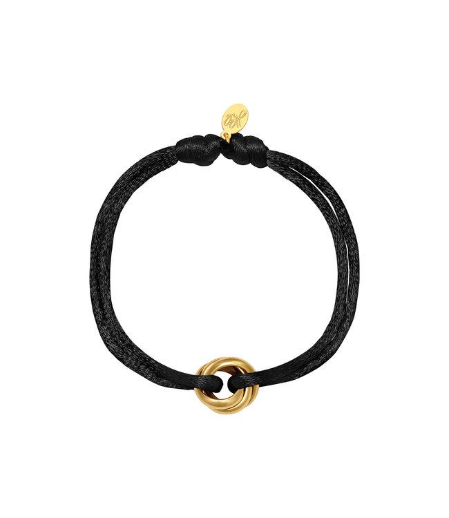 Gold Satin Knot Bracelet / Black