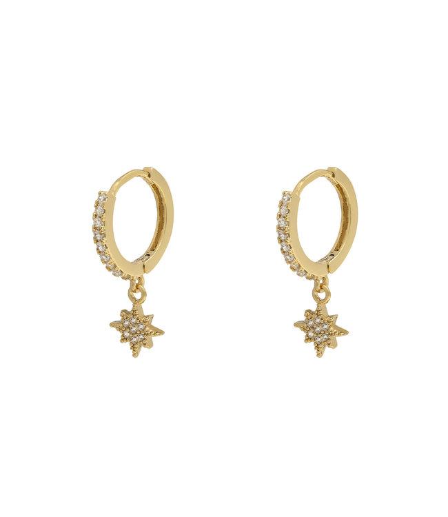 Gold Zirconia Star Earrings