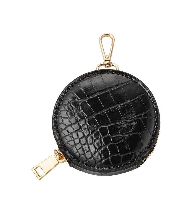Croco Round Wallet / Black