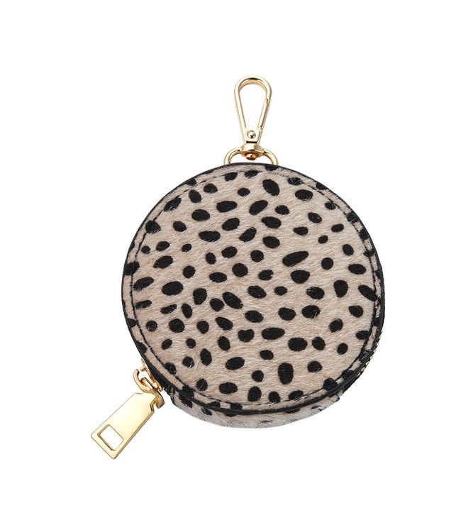 Leopard Round Wallet / Beige