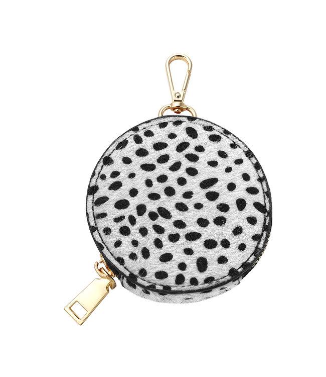 Leopard Round Wallet / White