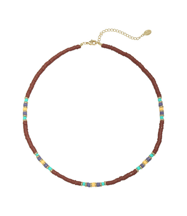 Colorful Day Necklace / Wine Red