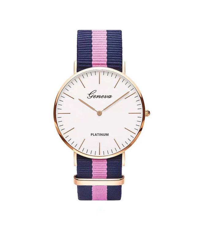 Striped Band Horloge / Pink
