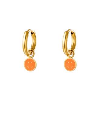 Pastel Smiley Earrings / Orange