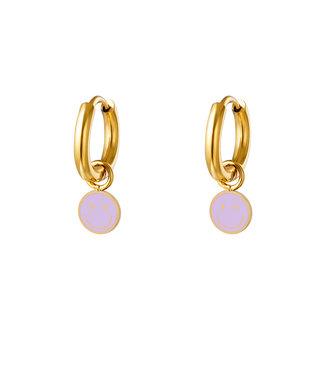 Pastel Smiley Earrings / Lilac