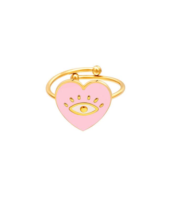 Eye in Heart Ring