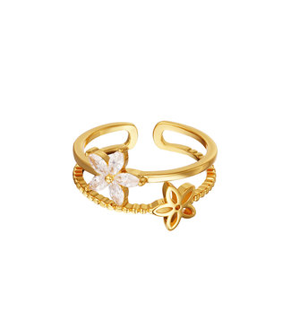 Double Small Flowers Ring