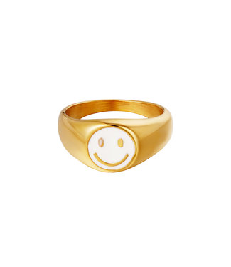 Smiley Signet Ring / White