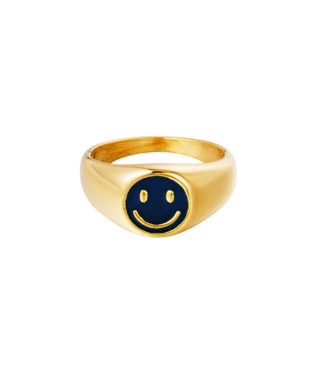 Smiley Signet Ring / Dark Blue