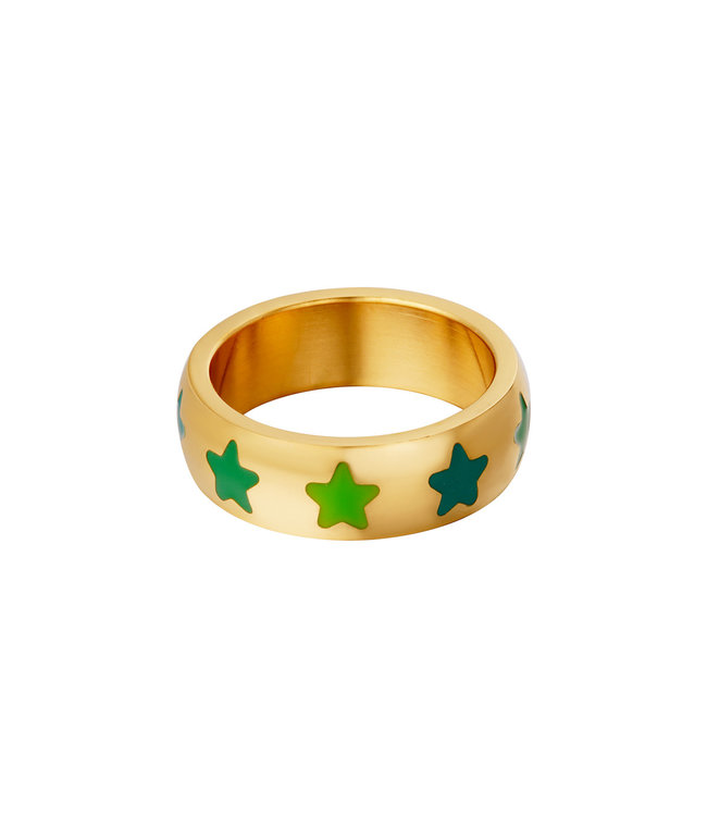 Colorful Stars Ring / Green