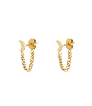 Moon Chain Stud Earrings