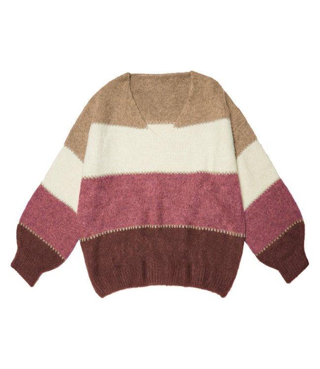 Winter Stripes Sweater / Wine Red