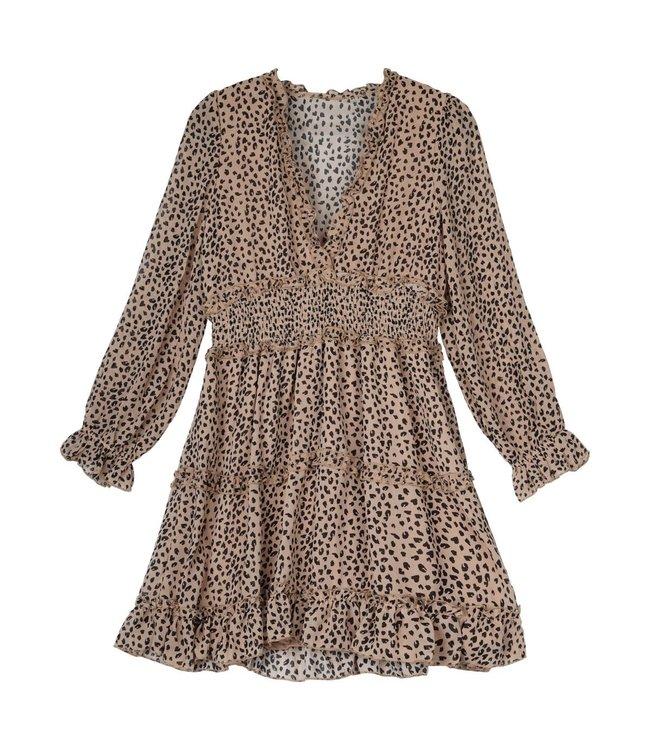 Panther Ruffle Dress / Beige