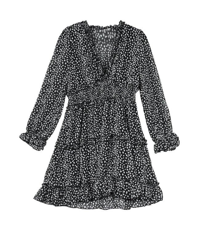 Panther Ruffle Dress / Black