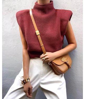 Knit Turtleneck Top / Burgundy Red