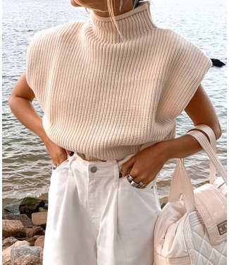 Knit Turtleneck Top / Beige