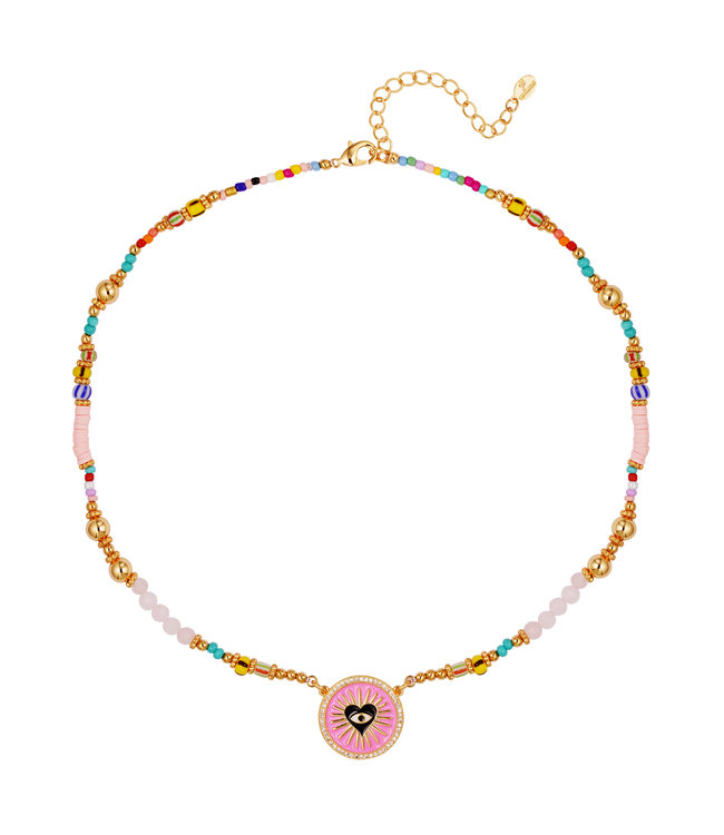 Heart Eye Beads Necklace