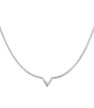 Silver Chained V Necklace